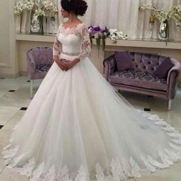 2016 New Hot Selling Custom Made Wedding Dresses Vestido de Noiva Casamento Robe De Mariage Full Sleeve Beaded Sash