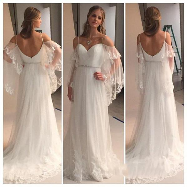 Romantic Bohemian Wedding Dresses with Batwing Sleeve 2016 Sexy Spaghetti Straps Beach Bridal Dress Backless vestido de novias