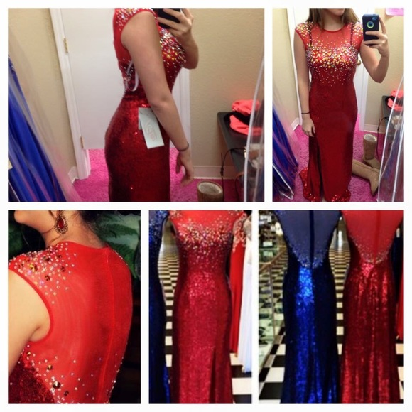 2016 Red Mermaid Prom Dresses Beading Crystals Sheer Back Sequins Lace Evening Dress Party Dress Long Formal Dresses